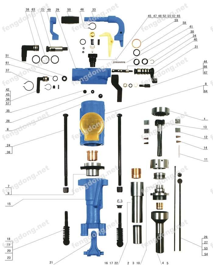 风动工具网提供生产YT28型凿岩机分解图厂家